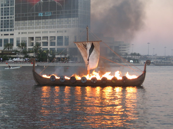 A Viking funeral. The longship burns on San Diego Bay.