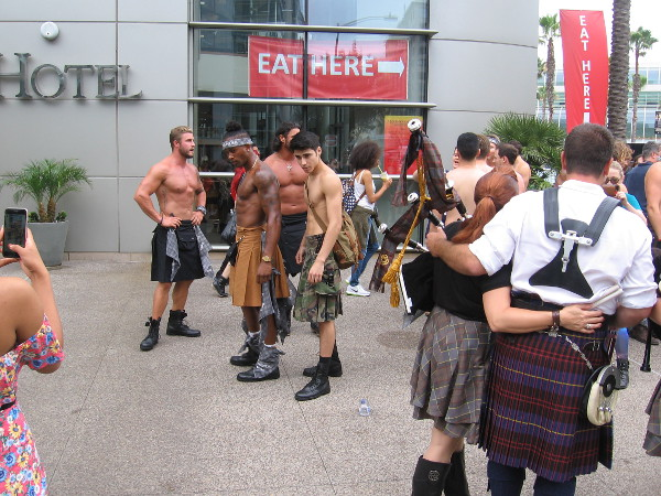 Bare-chested Outlander guys were getting lots of attention near the Omni.