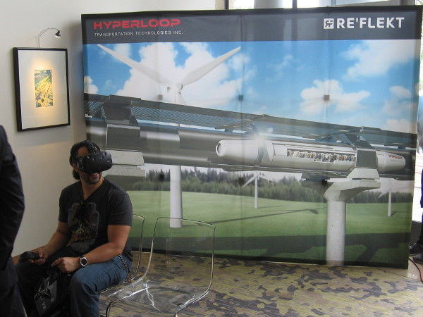 Hyperloop Transportation Technologies and RE'FLEKT demonstrated a futuristic transportation concept with virtual reality.