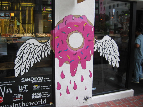 This winged doughnut was painted about a week ago at the Donut Bar.