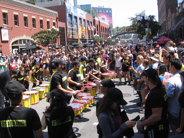 That crazy Syfy drum line in the Gaslamp again!