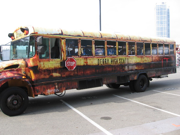 I saw this bloody Derry High School bus in the Petco Interactive Zone. Looks to me like it already brought in some zombies. They might be walking around San Diego right now...