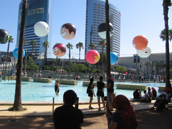 The Cartoon Network balloons seen from Children's Park. One of the balloons burst I was told. A bird hit it.