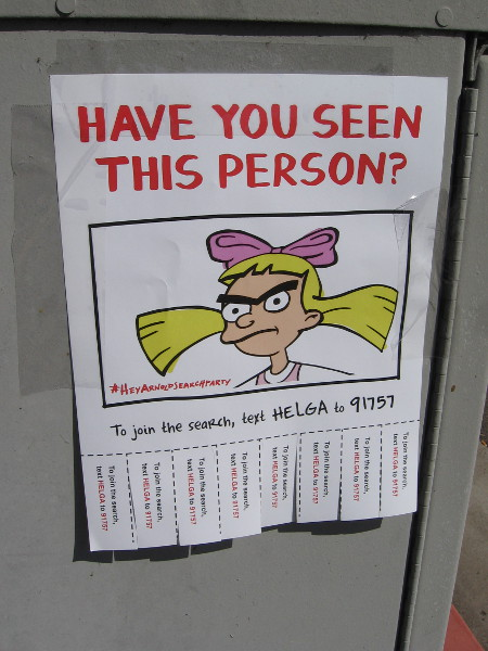 The second of three types of flyers I spotted. It appears we're supposed to search for characters in the popular animated television series Hey Arnold!