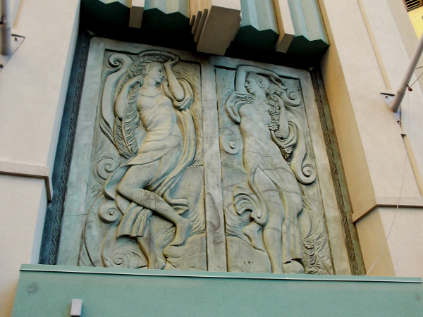 Beautiful sculpted relief panel above door of 700 1st Avenue building.