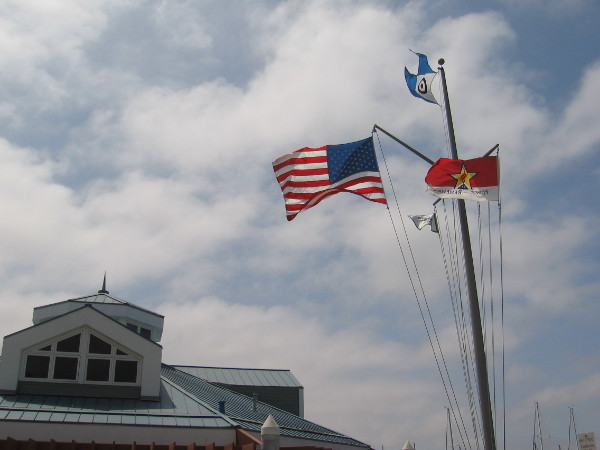Flags fly near the California Yacht Marina, located at the south end of Chula Vista's pleasant harbor.