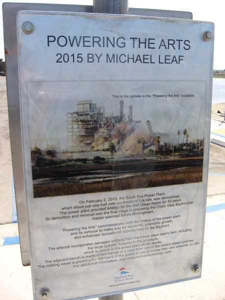 Sign describes how Powering the Arts was once a cylinder atop the now demolished South Bay Power Plant.