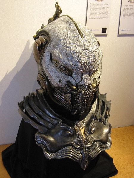 Klingon Helmet and Collar. Each warrior's battle armor bears a unique look reflecting their honor.