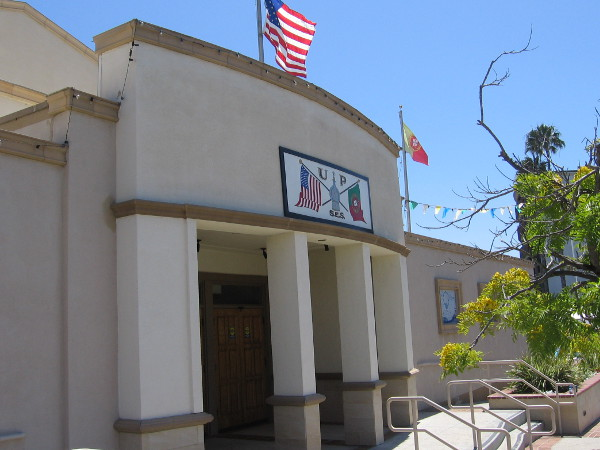 Front of the United Portuguese S.E.S. Hall on a sunny San Diego day.
