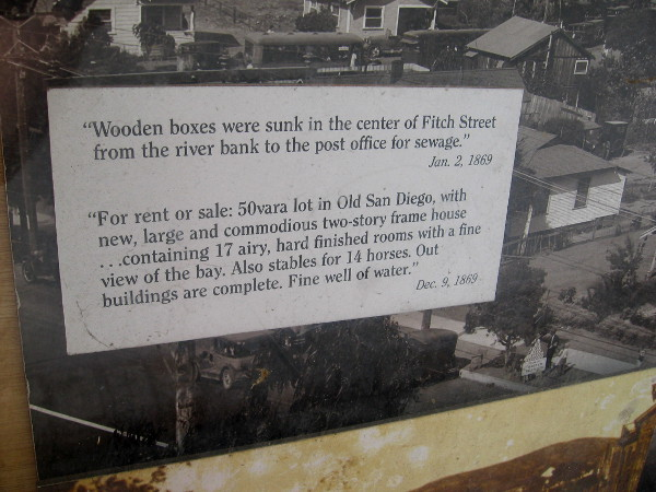 Wooden boxes were sunk in the center of Fitch Street from the river bank to the post office for sewage.
