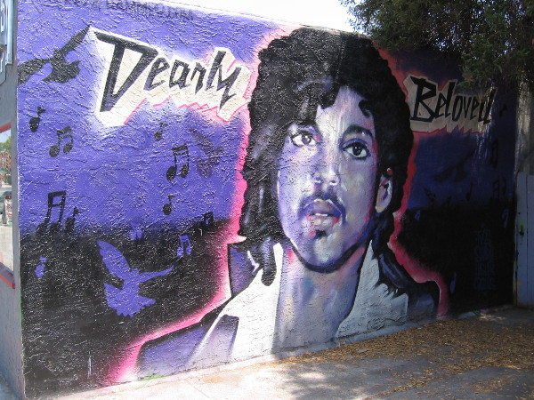 Dearly Beloved, a purple mural in Normal Heights that remembers Prince.