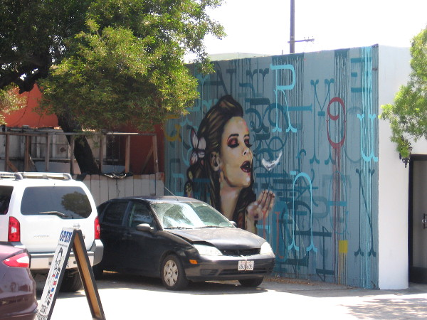 A small parking area between buildings on Adams Avenue in Normal Heights contains three works of art.