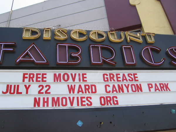 Marquee of old Adams Avenue Theater, which is now home to Discount Fabrics.