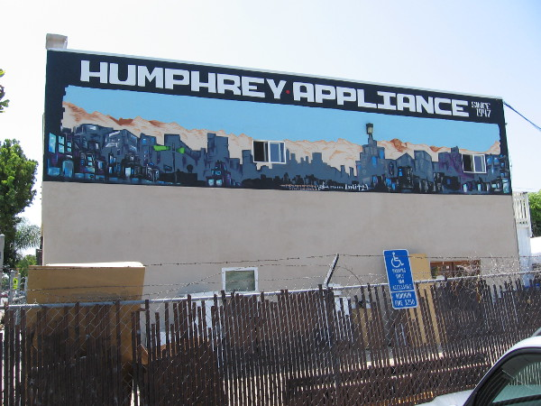 Now I've crossed Adams Avenue at 35th and am heading back west on the north side. Check out the cool mural near the rooftop of Humphrey Appliance.