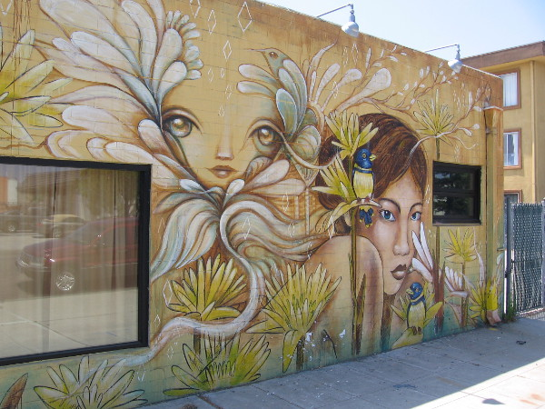 Two fantastic female faces, by talented muralists Gloria Muriel and Amanda Lynn. You've seen the distinctive work of each artist elsewhere on this blog!