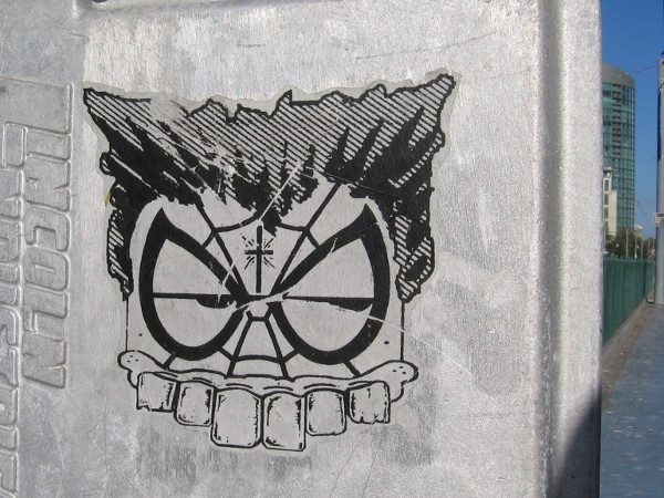 Here's an example of what you might become if you have the X-Gene and suddenly mutate. I think this sinister-looking character is called the Toothy Composite Oddity. I spotted this sticker along Harbor Drive. I wonder if the Spiderman web-shooting gets tangled in the Wolverine claws?