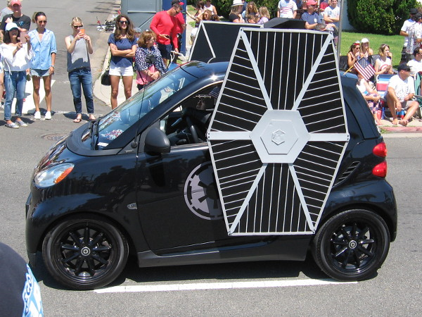A TIE fighter heads down Orange Avenue! Has the Galactic Empire taken over Coronado? Is there no hope?