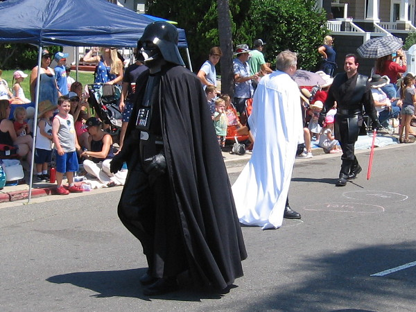 Uh, oh. Look who I spotted. Darth Vader! Let's hope it's just a guy enjoying Star Wars cosplay.