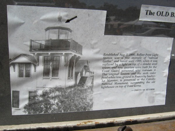 The 1890 Ballast Point Light Station was an example of Railroad Gothic. Its sixth order lens can be seen today at Cabrillo National Monument, in a museum near the old lighthouse.