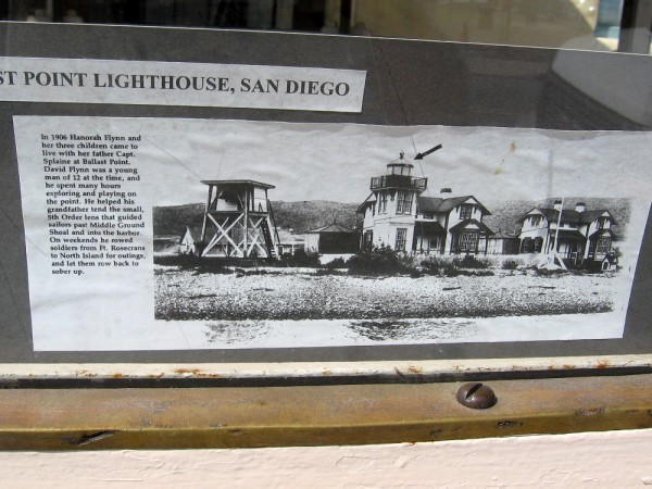 Historical photo and some words explain the light at Ballast Point. It guided sailors past Middle Ground Shoal and into San Diego's harbor.