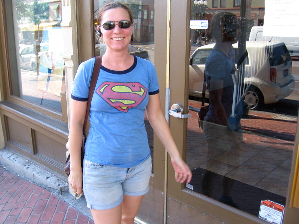 I spotted Supergirl patrolling the Gaslamp, making sure no supervillains have appeared yet.