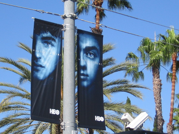 Along the trolley tracks near the San Diego Convention Center some Game of Thrones banners were hung today. Winter is here.