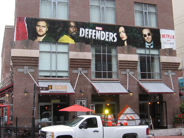 A cool wrap promoting The Defenders on Netflix has been applied to a Gaslamp building for 2017 San Diego Comic-Con.