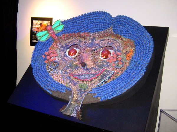 This cool artwork, made of LED lights, is from Laika's acclaimed first movie Coraline.