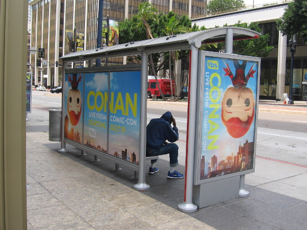 This guy had to settle for first in line at a Conan bus stop on Broadway!