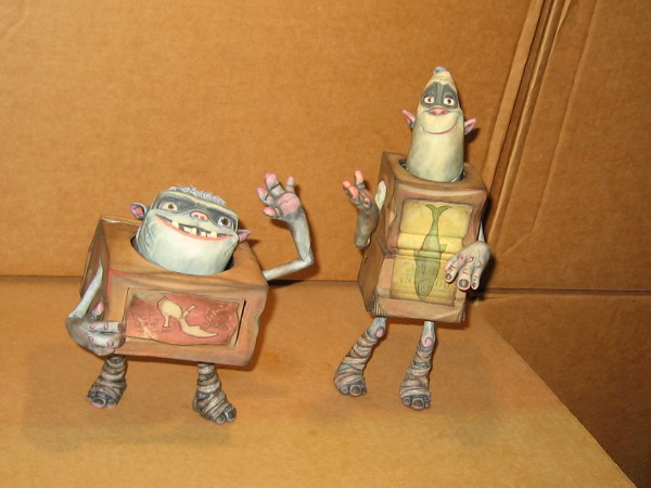 Shoe and Fish of the Boxtrolls wave hello!