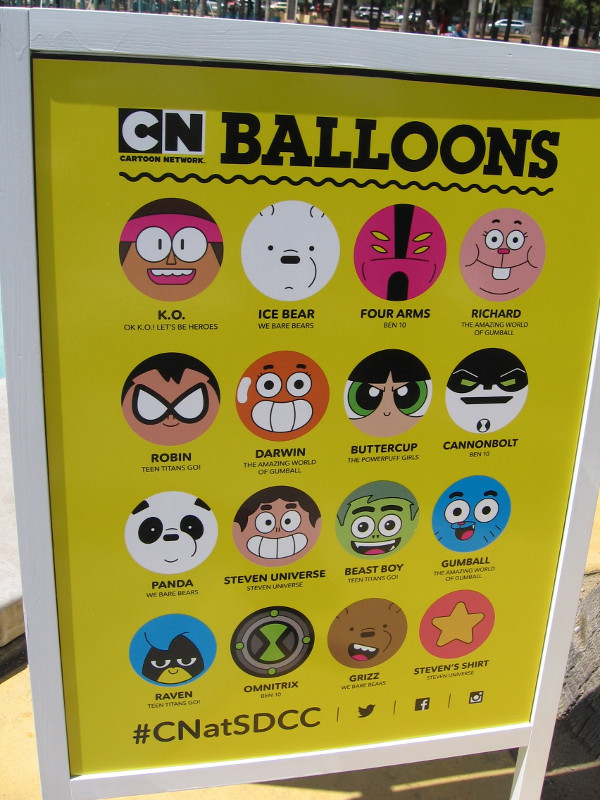 The Cartoon Network balloon characters include: K.O., Ice Bear, Four Arms, Richard, Robin, Darwin, Buttercup, Cannonbolt, Panda, Steven Universe, Beast Boy, Gumball, Raven, Omnitrix, Grizz, and Steven's Shirt!