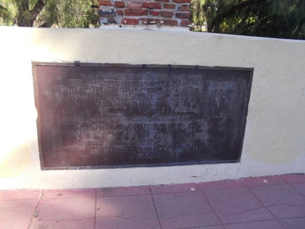 Plaque at base of cross remembers the Indian village of Cosoy, named San Miguel by Cabrillo in 1542, then San Diego de Alcala by Vizcaino in 1602.