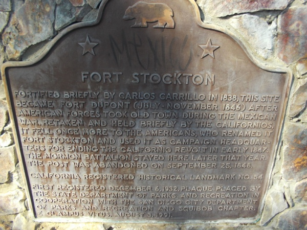 California Historical Landmark plaque at Fort Stockton. The top of Presidio Hill was fortified by Carlos Carrillo in 1838. From July to November 1846 the fortification was called Fort Dupont when American forces temporarily held Old Town.
