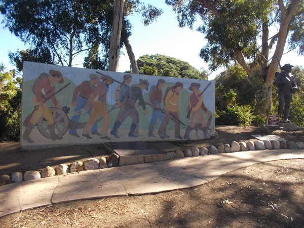 Mural at Fort Stockton depicts the long march of the Mormon Battalion.