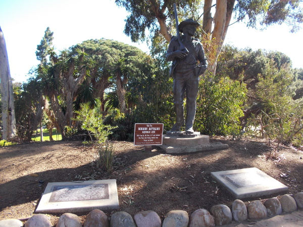 The two plaques depicted above are near the Mormon Battalion Monument, a bronze sculpture by Edward J. Fraughton.