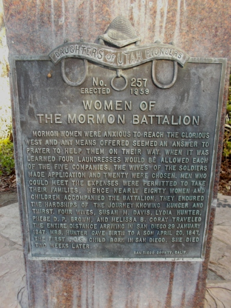 Women of the Mormon Battalion. Almost eighty women and children accompanied the soldiers during the long march. Four wives traveled the entire distance to San Diego.