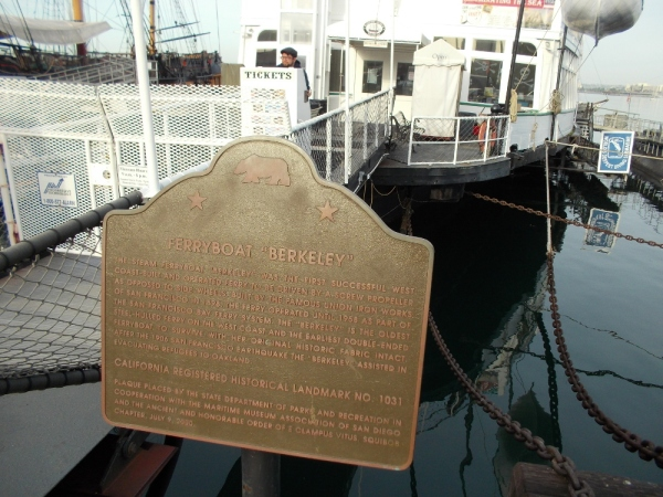 Plaque in front of the ferryboat Berkeley, which was the first successful West Coast-built ferry to be driven by a screw propeller as opposed to side wheels.
