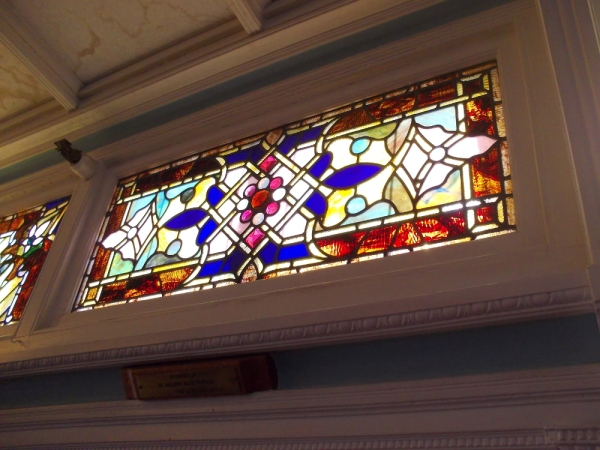 More exquisite stained glass. Passengers would cross San Francisco Bay in style.