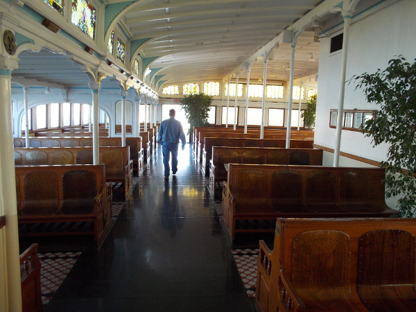 Walking through the passenger deck.
