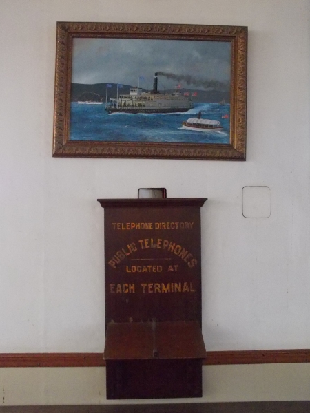 A painting of the ferry Berkeley and a relic from its history.