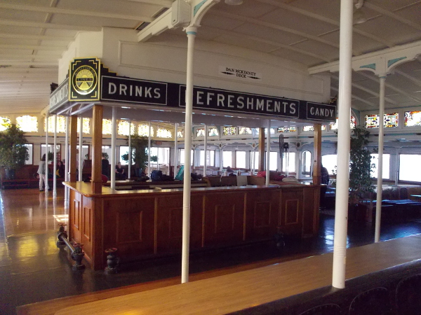 Refreshments used to be served here during bay crossings. Today the Berkeley is often used for special events and drinks are still served.