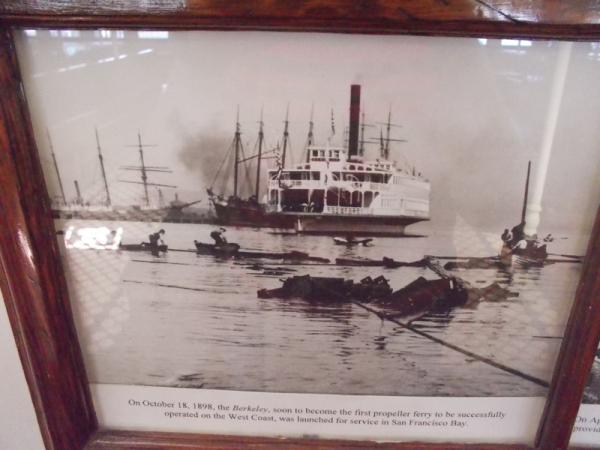 One of four old photos on the passenger deck. Berkeley was launched on San Francisco Bay on October 18, 1898.