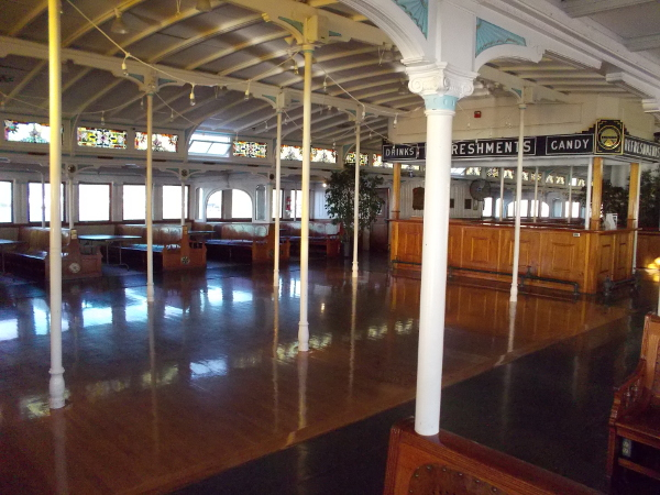 And what a beautiful museum she is! Many exhibits can be seen on the lower deck, where ferry passengers used to haul their luggage carts.