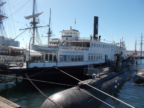 Looking from the Embarcadero at the Berkeley, over the Maritime Museum of San Diego's deep diving submarine USS Dolphin.