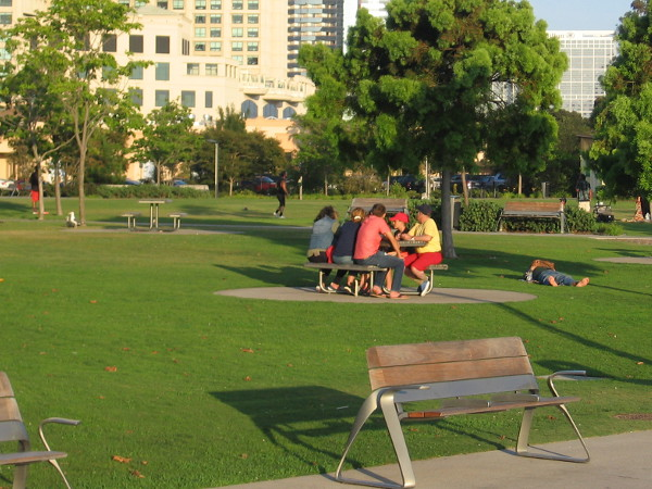 People at a picnic table and on the grass at Ruocco Park.