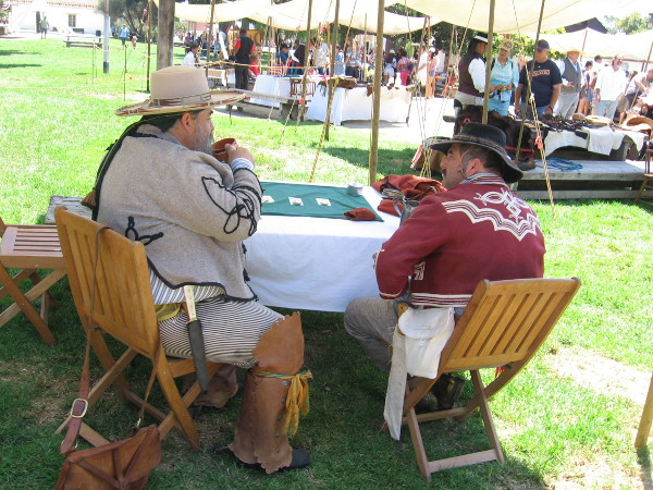 Two vaqueros chat during an event in Old Town San Diego that reenacts aspects of Californio history.