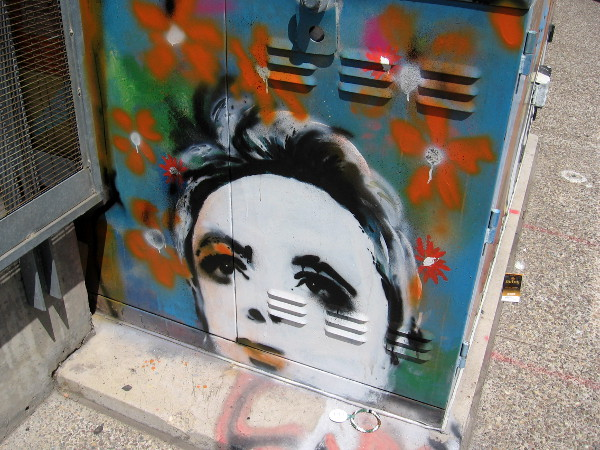 Female face spray painted on electrical box in East Village at F Street and Tenth Avenue.