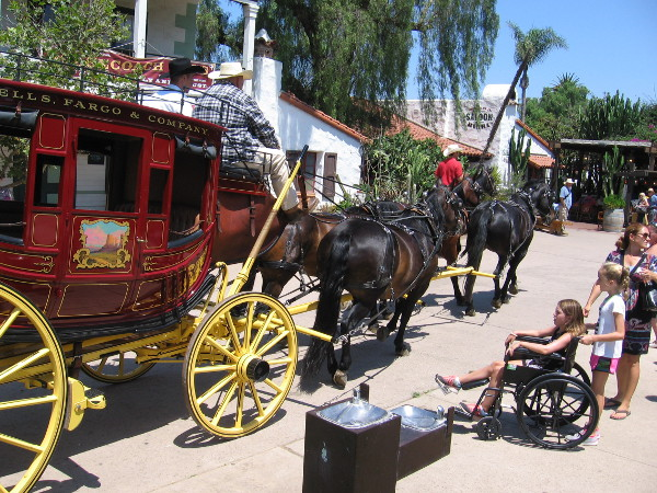 Aspects of frontier life were reenacted today in Old Town San Diego. Visitors watch in amazement as a stagecoach passes by!
