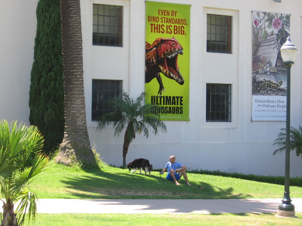 A warm summer afternoon. A man and his dog rest beneath a dinosaur near the San Diego Natural History Museum.