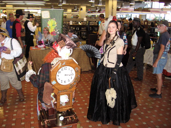 Dozens of local steampunk enthusiasts had gathered in the library to have fun and provide creative inspiration for young and old alike.